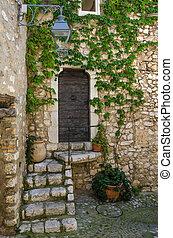vieux, étapes, portes, village
