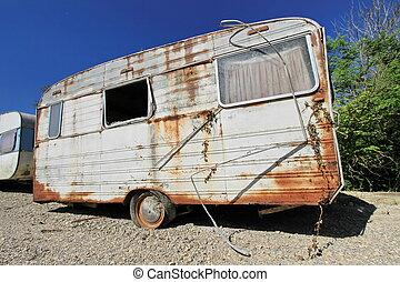 vieux, abandonnés, caravane