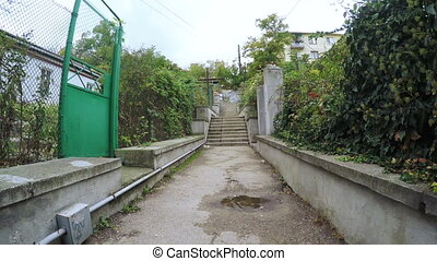vieux, abandonnés, escalier