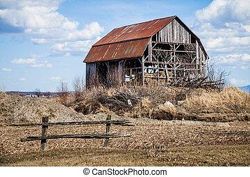 vieux, abandonnés, grange