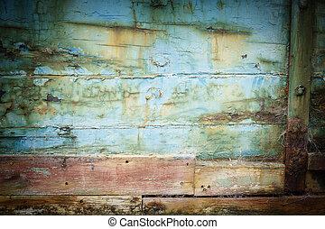 vieux, abandonnés, hull., résumé, bateaux, closeup