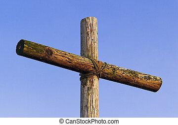 vieux, accidenté, croix, ciel bleu