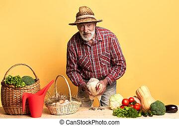 vieux, agriculteurs, légumes, amical, came, organique, oeufs, marché, homme