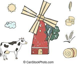 vieux, agriculture, ou, ferme bétail, vecteur, vache, plat, design., moulin, agriculture, main, style, agrafe, dessin animé, illustration, isolé, art, rouges, paysan, ménage, texture., dessiné, mignon, grunge
