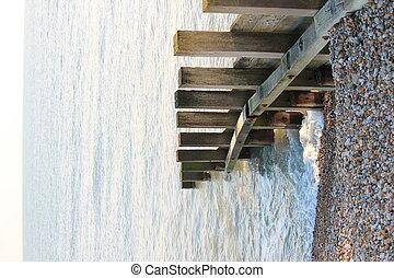 vieux, aine, eau, casseur, mer, mur