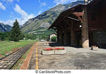 vieux, alpin, rail, station