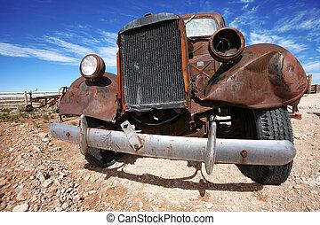 vieux, américain, camion, rouillé, dehors