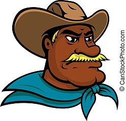 vieux, américain, caractère, dessin animé, cow-boy