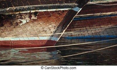 vieux, amarré, dubai, port, bateaux pêche