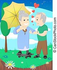 vieux, amour, couple, famille, personnes agées, mariage, date, célébrer