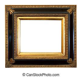 vieux, antiquité, doré, cadre graphique
