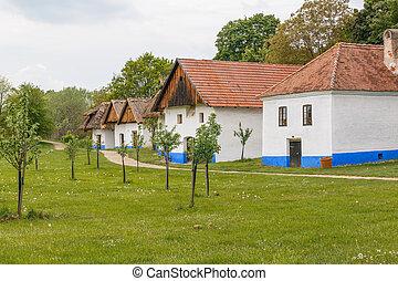 vieux, arbres, maisons, village, rural, coloré, sien