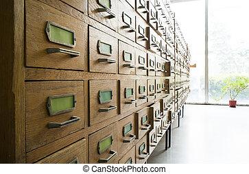 vieux, archive, à, tiroirs