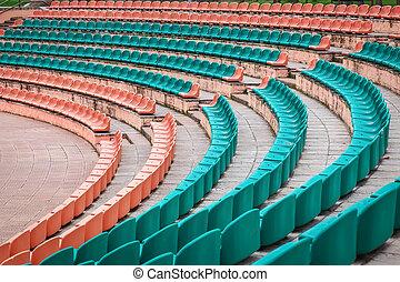 vieux, arena., sièges, plastique, stade, porte, sports, ouvert, vide