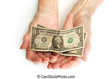 vieux, argent, dollars, -, fauché, mains, dénombrement