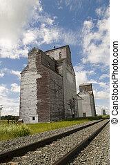 vieux, ascenseur grain