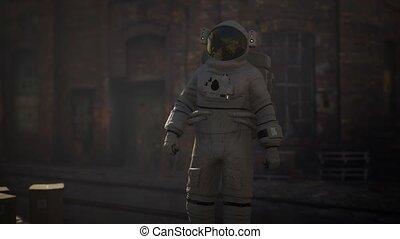vieux, astronaute, perdu, abandonnés, industriel, bâtiments, usine