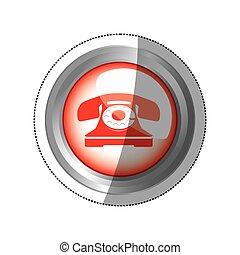 vieux, autocollant, téléphone, circulaire, bouton, rouges, icône