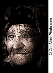 vieux, aveugle, femme