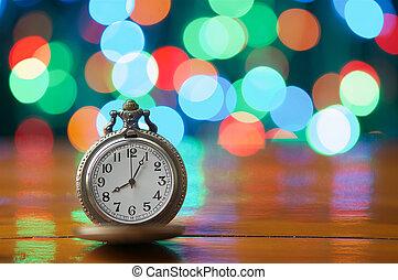 vieux, avoir, coloré, horloge, vendange, bokeh, fond