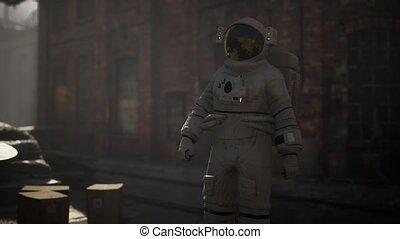 vieux, bâtiments, perdu, industriel, abandonnés, astronaute, usine