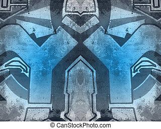 vieux, béton, peint, formes, mur, géométrique