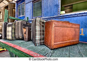 vieux, bagage