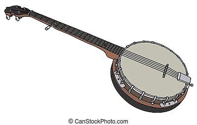 vieux, banjo, cinq, ficelle