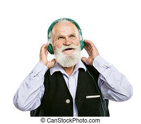 vieux, barbu, musique écouter, homme