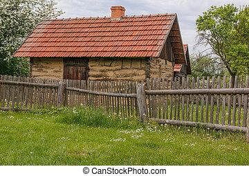 vieux, barrière, maison, village, rural, sien