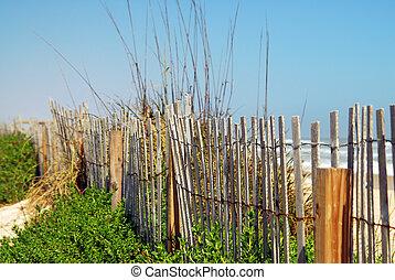 vieux, barrière, plage