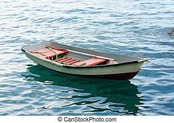 vieux, bateau bois, canot de sauvetage, paddle.