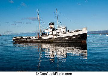 vieux, bateau, del, tierra, fuego, argentine, sud