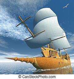 vieux, bateau, -, render, 3d