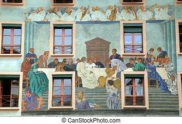vieux, beau, fresque, sur, moyen-âge, bâtiment, dans,...