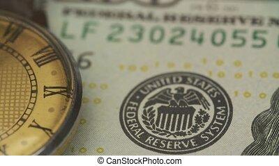 vieux, billet banque, onde, dollar, montre, mensonges, table...