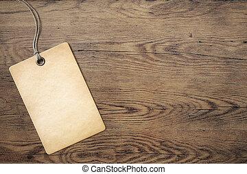 vieux, bois, étiquette prix, fond, table