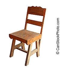 vieux, bois, bureau, isolé, blanc