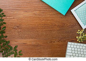 vieux, bois, cahier, espace de travail, clavier, table, fleurs