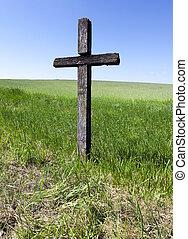vieux, bois, croix