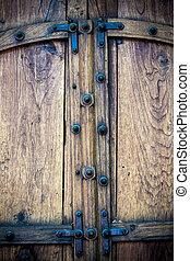vieux, bois, doubles portes