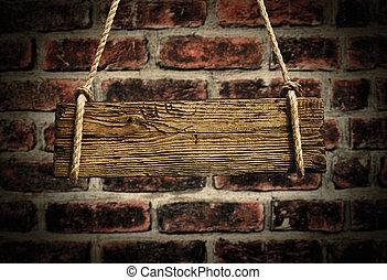 vieux, bois, enseigne, mur, fond, brique