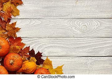 vieux, bois, feuilles, automne, potirons, fond, sur