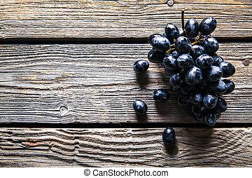 vieux, bois, fruit., nourriture, raisins, table.