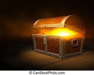 vieux, bois, intérieur, poitrine trésor, fort, lueur