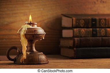 vieux, bois, livres, fond, bougie, table