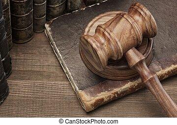 vieux, bois, livres, marteau, table, droit & loi, jydges