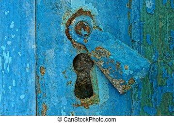 vieux, bois, métal, porté, trou de la serrure, porte