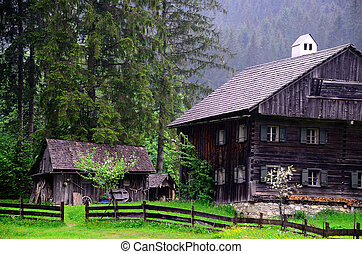 vieux, bois, maisons, dans, les, nature