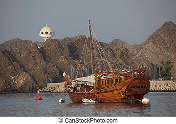 vieux, bois, oman, bateau, port, sultanat, muscat